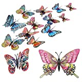 8 pièces Sparkle Butterfly Wall Sticker, Stronger Magnetic 3D Artificial Butterfly, Wall Decal Ornament for Bedroom, Home, Kitchen, Garden (Rose)