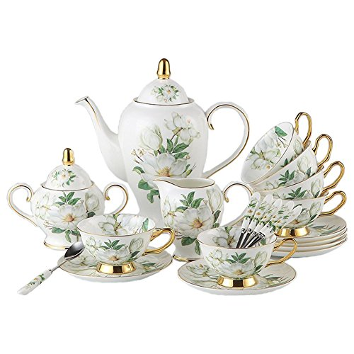 NDHT 21 Pcs Bone China Ceramic 6 coffee cups with saucers and spoons,1 l000ml Coffee Pot,1 Milk Jug,1 Sugar Pot For Coffee and Tea,White and Green with an Elegant Gift Box