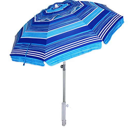 AMMSUN 7 ft Sand Anchor Beach Umbrella Adjustable Height with Tilt Aluminum Pole, Portable UV 50+ Protection Beach Umbrella for Outdoor Patio Blue