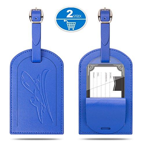 Gvoo Kofferanhänger, 1 Paar 2 Stück Reise Gepäckanhänger Taschenanhänger Luggage Tag Gegen Verloren aus Leder (Blau+Blau)