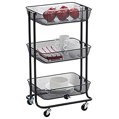 mDesign Metal 3-Tier Rolling Household Storage Cart from