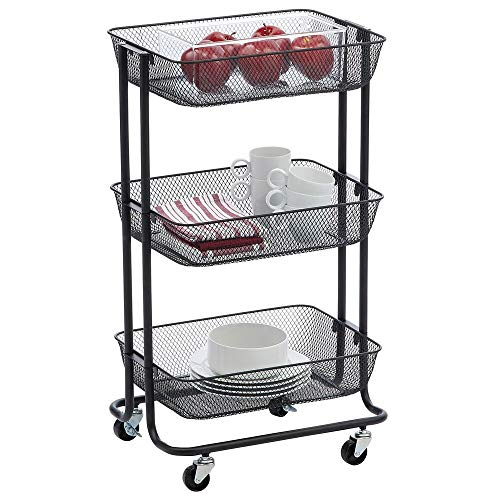 mDesign Metal 3-Tier Rolling Household Storage Cart to use in Bathrooms, Kitchen, Craft Rooms, Laundry Rooms, and Kid's Rooms - Portable, Includes 4 Caster Wheels - Black