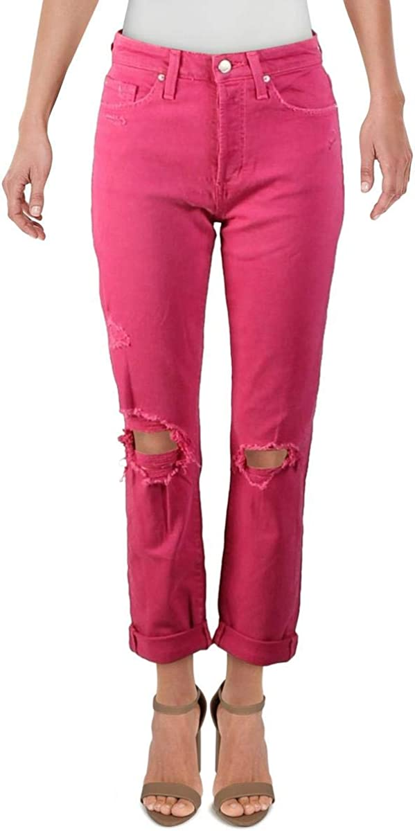 Joe's Jeans Womens Smith High Rise Distressed Straight Crop Jeans