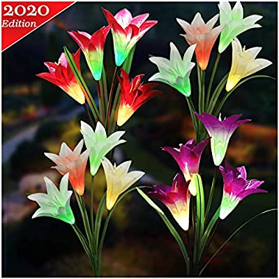 TONULAX Upgraded Solar Lights Outdoor - Color Changing Solar Flower Lights for Garden Decoration, Bigger Flower and Larger Solar Capacity, Gift for Mom and Friends,Pack of 4(Purple, Red, 2 White)