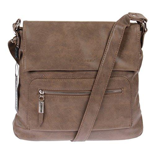 Schultertasche Used Look Handtasche Umhängetasche Shopper Tasche Bag Street (Taupe)