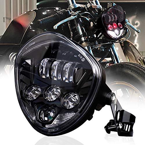 SEUYA Motorcycle Headlight 7 inch Harley Headlight Hi/Low Beam Red & White DRL with Bracket Clamp for Universal Motorcycle Harley Honda Kawasaki Suzuki Yamaha Cafe Racer