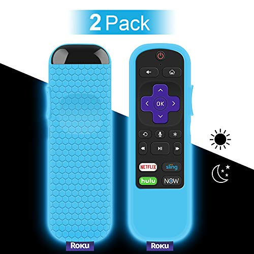 2 Pack Protective Case for TCL Roku TV Steaming Stick 3600R Remote, Silicone Cover Shock Proof Remote Controller Skin, Anti Slip Universal Replacement Sleeve Protector (Glow Blue)