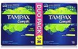 Tampax - Compak - Tampon con aplicador retráctil compacto - 36 unidades