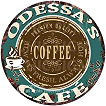 Odessa'S Coffee Cafe Chic Tin Sign Rustic Shabby Vintage Style Retro Kitchen Bar Pub Coffee Shop Man cave Decor Mother's Day Father's Day Housewarming Gift Ideas