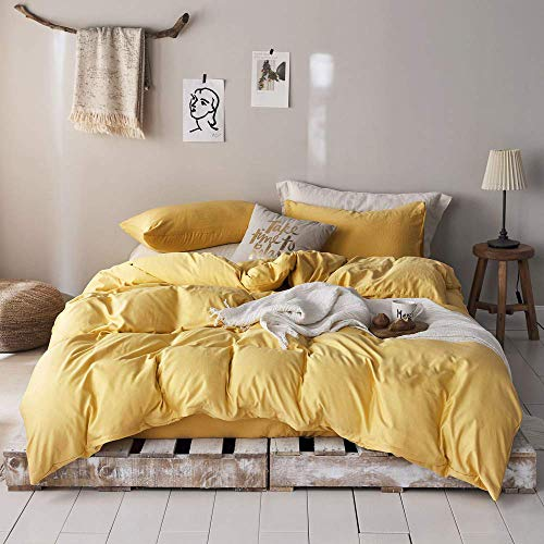mixinni 3 Pieces Modern Style Duvet Cover King Size Solid Color Gold Microfiber Bedding Cover Set with Zipper Ties for Him and Her?(1 Duvet Cover + 2 Pillow Shams),Easy Care,Soft,Durable (Gold,King)