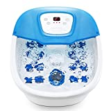 Foot Spa Bath Massager with Heat Bubbles Vibration, Heated Foot Bath with Pedicure Grinding Stone, 16 Massage Rollers and Digital Temperature Control Home Use