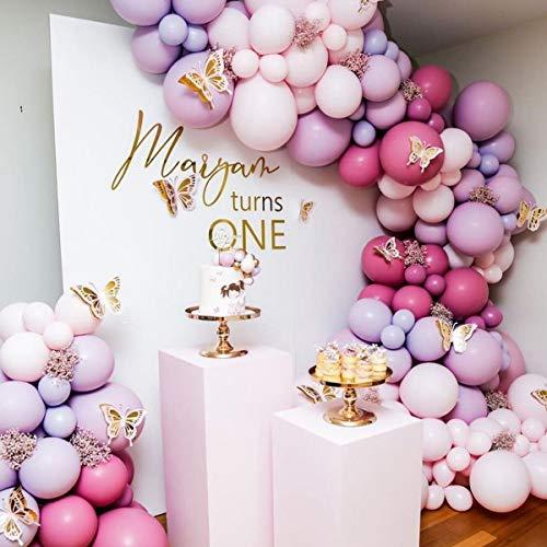 Juego de 114 globos de color rojo rosa, morado, rojo, globos de látex para decoración de fiestas, bodas, cumpleaños, baby shower, niñas, etc.
