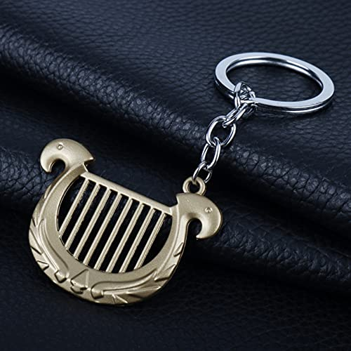 YCHH Princess Harp Colgante Collar Collar Charm Llavero Holder Cadena Llavero Joyería (Color : Bronze, Size : 5.2cm*3.7cm)
