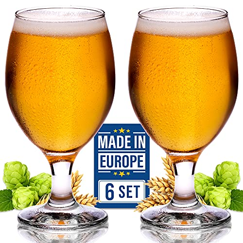 Craft Beer Glasses Set of 6, Belgian Style Stemmed Tulip Classics, IPA Beer Tasting Glassware,13 1/2 oz