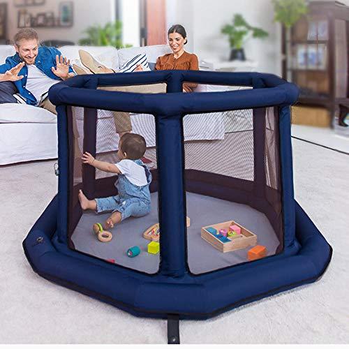 Vitila 11 sq ft BlauMobiler Laufstall mit Atmungsaktivem Netz,6 eckig Kinder Indoor für Kinder Kleinkinder Und Babys