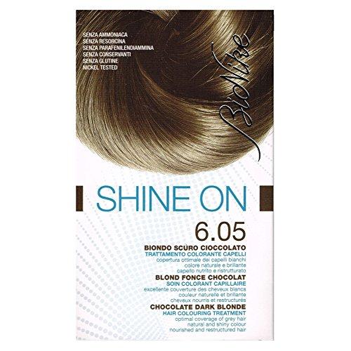 BioNike Shine On Trattamento Colorante Capelli (Tono Biondo Scuro Cioccolato 6.05) - 1 flacone x 75 ml. + 1 tubo x 50 ml. (Totale 125 ml.)
