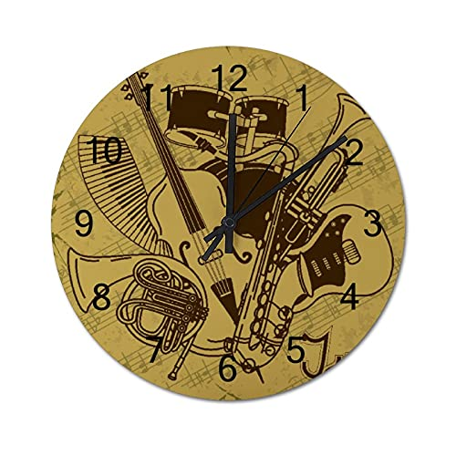 Round Digital Wall Clock,Background with Musical Instruments,Wooden Battery Operated Silent Non-Ticking Rustic Home Decor for Living Room Kitchen Bedroom Office 23.6 Inch