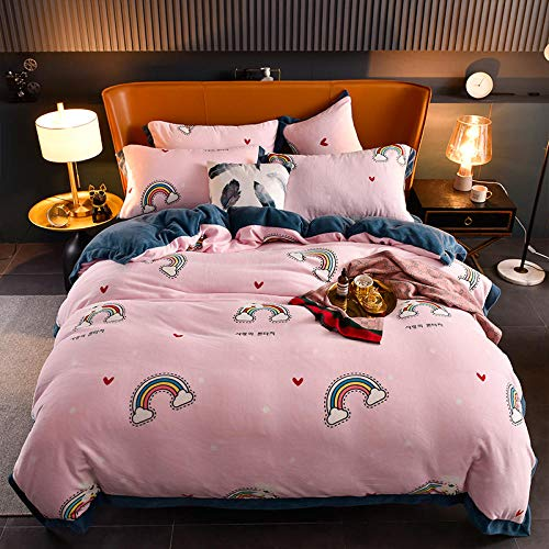 Shinon teddy fleece duvet set double teal,Winter thick double-sided plus fleece flannel duvet cover single double bed single pillowcase bed sheet-C_2.0m bed (4 pieces)