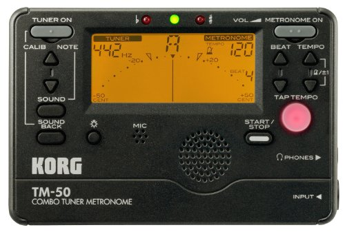 Korg TM50BK Instrument Tuner and Metronome, Black