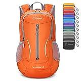 ZOMAKE Ultra Lightweight Packable Rucksack, 25L Klein Wasserfest Wandern Daypack Faltbarer Reiserucksack für Männer Frauen im Freien (Orange)