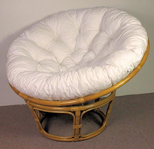 Rattan Papasan Sessel inkl. hochwertigen Polster, D 110 cm, Fb. Honig, Polster weiß