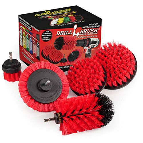 Drill Brush Power Scrubber by Useful Products - Drillbrush 4 Piece Red Stiff Drill Cleaning Brush Set - Outdoor Cleaning Drill Brush Set for Cordless Drill - Siding Cleaner Brush attachment for Drill
