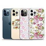 iPhone 12 用 ケース、iPhone12 pro用4パッククリアケース、iPhone12/12pro用の新年の可愛いケース、透明で柔らかいTPU電話ケース、滑り止め、美しい、薄型、全透明〔6.1インチ〕〔タイプC〕
