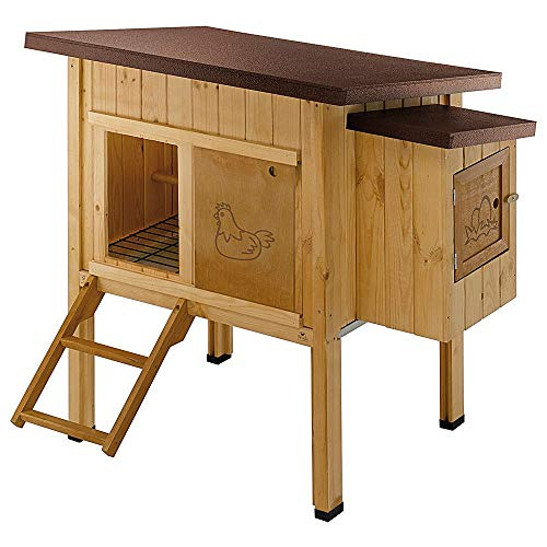 Ferplast Pollaio Casetta per polli Galline ovaiole HEN HOUSE 10 da esterno, in legno FSC, per circa 4 galline, Accessori inclusi, Marrone