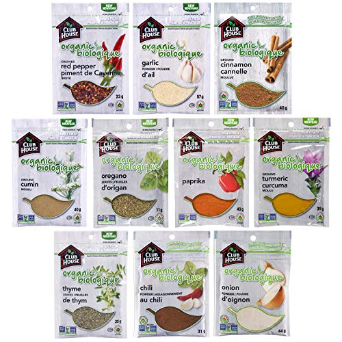 Club House, Quality Natural Herbs & Spices, Organic Pantry Essentials Pack, 10 Count (Garlic Powder, Onion Powder, Chili Powder, Cinnamon,...