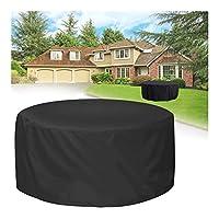 FUSHOU-円形ガーデン屋外用 ファニチャーカバー、耐寒性素材テーブルや椅子の設備を効果的に保護し、防塵・防雨・防風カバー,黒,233x71cm