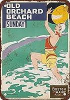 ボストンアンドメイン鉄道オールドオーチャードビーチ、ブリキサインヴィンテージ面白い生き物鉄の絵画金属板ノベルティ
