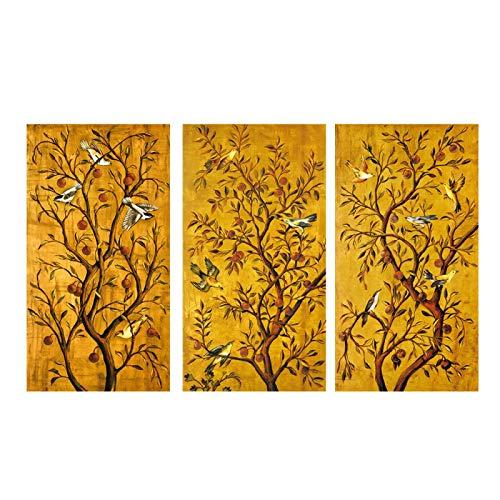 Árbol de estilo japonés chino Árbol rico Pintura decorativa Aves Impresiones para decoración de entrada Lienzo Arte de la pared Carteles de jardín 30x60cm (12x24in) x3 Sin marco