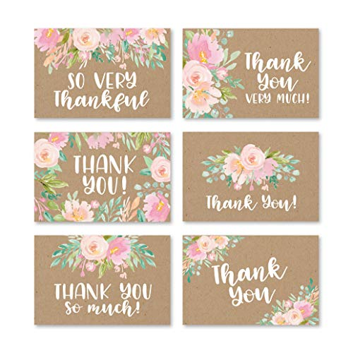 24 Rustic Kraft Floral Thank You Cards With Envelopes, Great Note For Adult Funeral Sympathy or Gift Gratitude Supplies For Grad, Birthday, Baby or Vintage Flower Bridal Wedding Shower For Boy or Girl