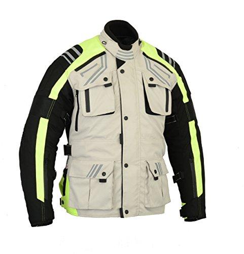 Australian Bikers Gear The Storm - Chaqueta de moto en color beige / negro y alta visibilidad tejido Cordura con protecciones, talla XL