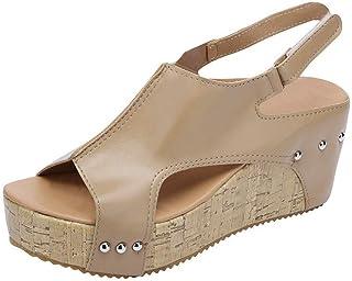 875ae45346 Sandalias Mujer Cuña Alpargatas Plataforma de Tacón Alto Flip Flop Verano  Elegante Zapatos Zapatillas Romanas Gladiador