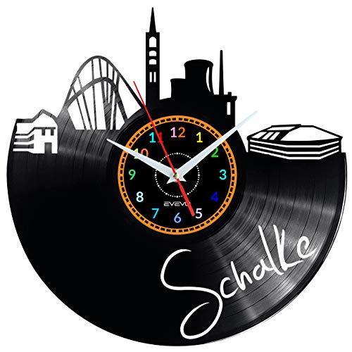 EVEVO Schalke Wanduhr Vinyl Schallplatte Retro-Uhr groß Uhren Style Raum Home Dekorationen Tolles Geschenk Wanduhr Schalke