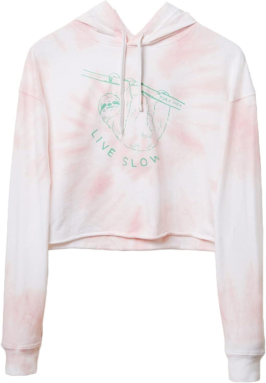 Pura Vida Women's Live Slow Crop Hoodie - Cotton Sweatshirt, Pullover Top - Flat Drawcord, True to Size - Pink Tie Dye