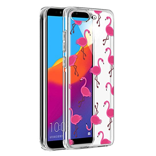 Eouine Huawei Y6 2018 Hülle, Schutzhülle Silikon Transparent mit Muster Motiv Handyhülle  Ultra Dünn] Slim Stoßfest Weich TPU Bumper Case Backcover für Huawei Y6 2018 (Feuervogel)