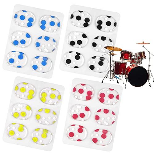 OSUTER 24PCS Gel Dämpfer Silikon Trommel Dämpfer Pads Transparent Drum Mute für Schlagzeug Klangregelung