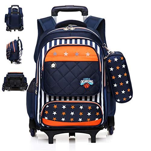 LHY EQUIPMENT Mochila con Ruedas Trolley Mochila para Niños Extraíble School Triangle Wheels Trolley Backpack Extraíble 6 Ruedas Mochila Multipropósito