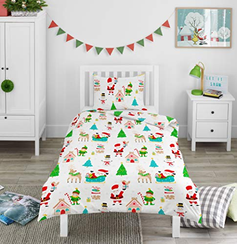 Bloomsbury Mill - Winter Wonderland - Christmas Festive Fun - Kids Bedding Set - Junior/Toddler/Cot Bed Duvet Cover and Pillowcase
