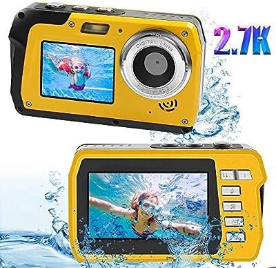Underwater Waterproof Digital Camera for Snorkeling FHD 2.7K 48MP Selfie Dual Screen Video Camcorder Point & Shoot Digital Camera by Kansing