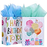 16.5' Extra Large Gift Bags for Birthday Party with Tissue Paper(2 Pack, Balloon)