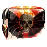 Bolsa de Maquillaje para niños Murciélago Calavera de Fuego Accesorio de Viaje Neceser Pequeño Bolsas de Aseo Impermeable Cosmético Organizadores de Viaje 18.5x7.5x13cm