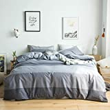YuHeGuoJi 3 Pieces Duvet Cover Set 100% Cotton Grey Queen Size Polka Dot Bedding Set 1 Geometric Stripes Pattern Duvet Cover with Zipper Ties 2 Pillowcases Hotel Quality Soft Lightweight Breathable