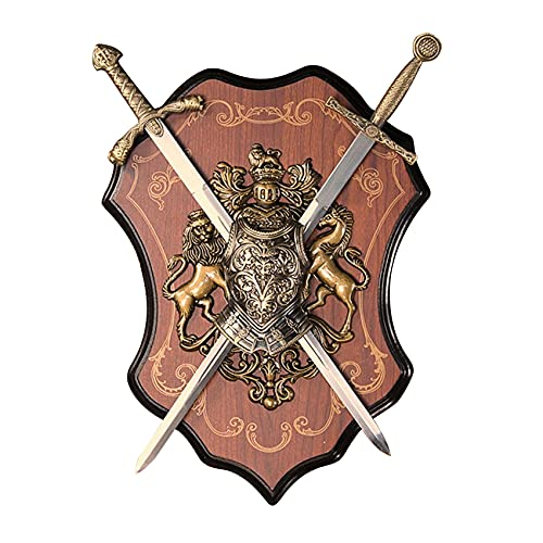 YIHANGG Decoración de Escultura Medieval de Batalla del Siglo, decoración de Escultura de Armadura de Caballero Espada y Escudo Escultura de Montaje en Pared de Armas de Caballero Real Medieval