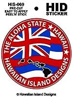 HID ハワイアン ステッカー デカール(ハワイ州-フラッグ/州旗) ハワイアン雑貨 ハワイ 雑貨 お土産 (レッド)