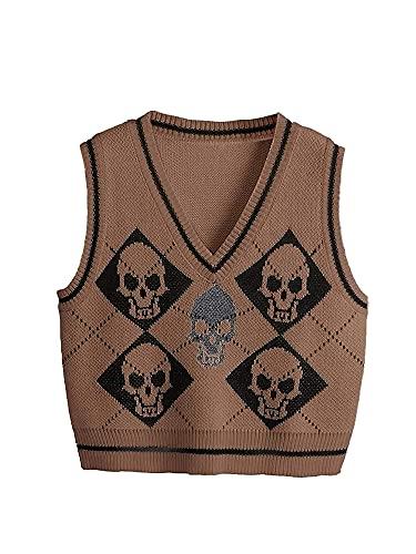 Suéter Chaleco Mujer, Chaleco de Punto Gótico, Esqueleto y Argyle Impreso Suéter De Punto De Las Mujeres Sin Mangas, marrón, L