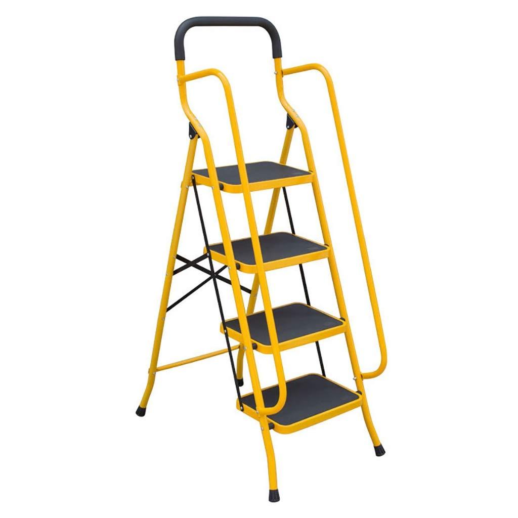 Escaleras Escalera plegable de acero for trabajo pesado de 4 pasos con barandilla de seguridad, escalera de mano portátil, escalera telescópica, escalera de extensión, escalera multiusos for oficina e: Amazon.es: Bricolaje y