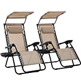Patio Chairs Set of 2 Zero Gravity Chair Folding Chairs Outdoor Chairs Anti Gravity Chair Reclining Outdoor Folding Chairs Lounge Chair Deck Chairs Foldable Yard (Tan)